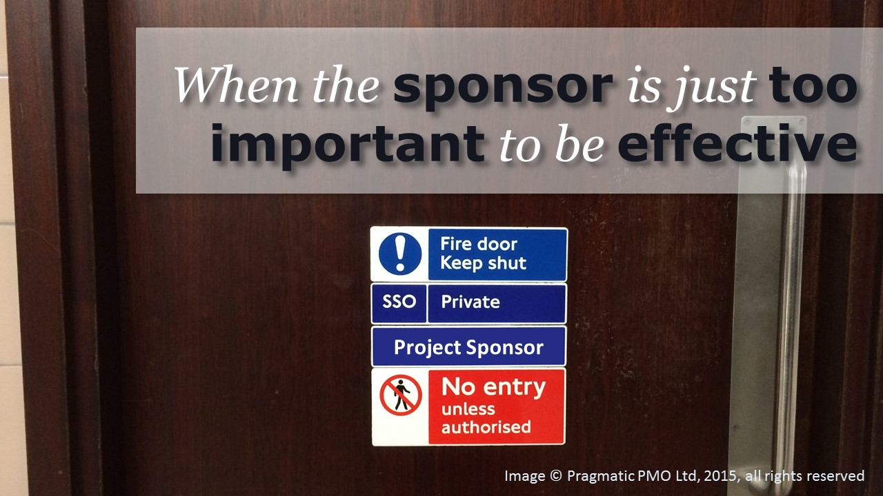"Photograph of a door with a sign on it saying ""Project Sponsor - No entry unless authorised"""