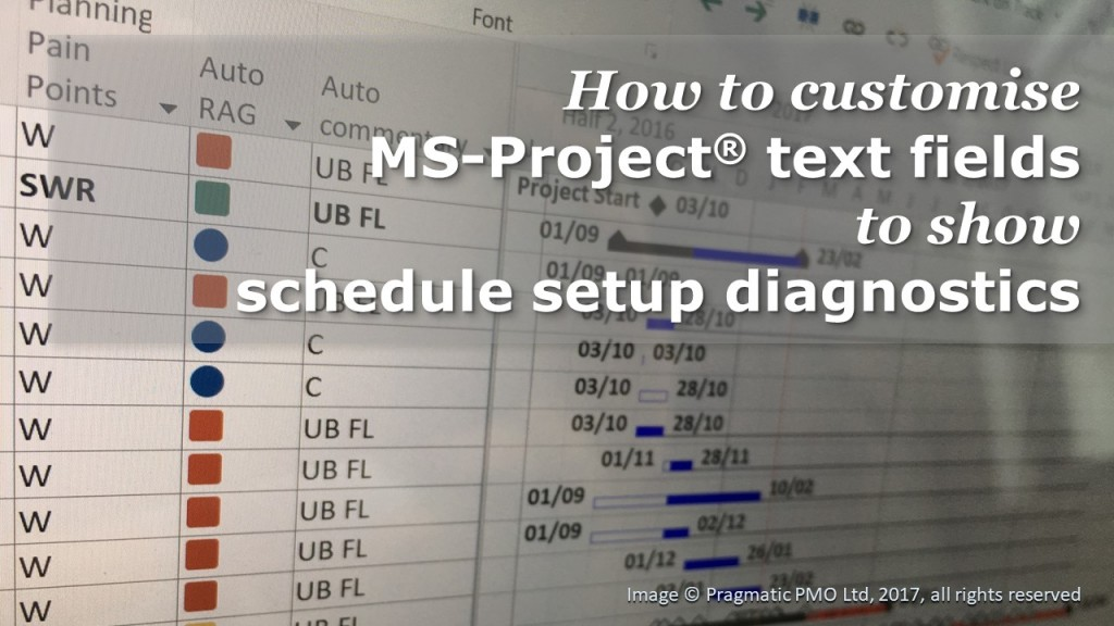 """Screenshot of a Gantt chart in MS-Project showing custom text field, overlaid with the text """"How to customise MS-Project text fields to show schedule setup diagnostics"""""""