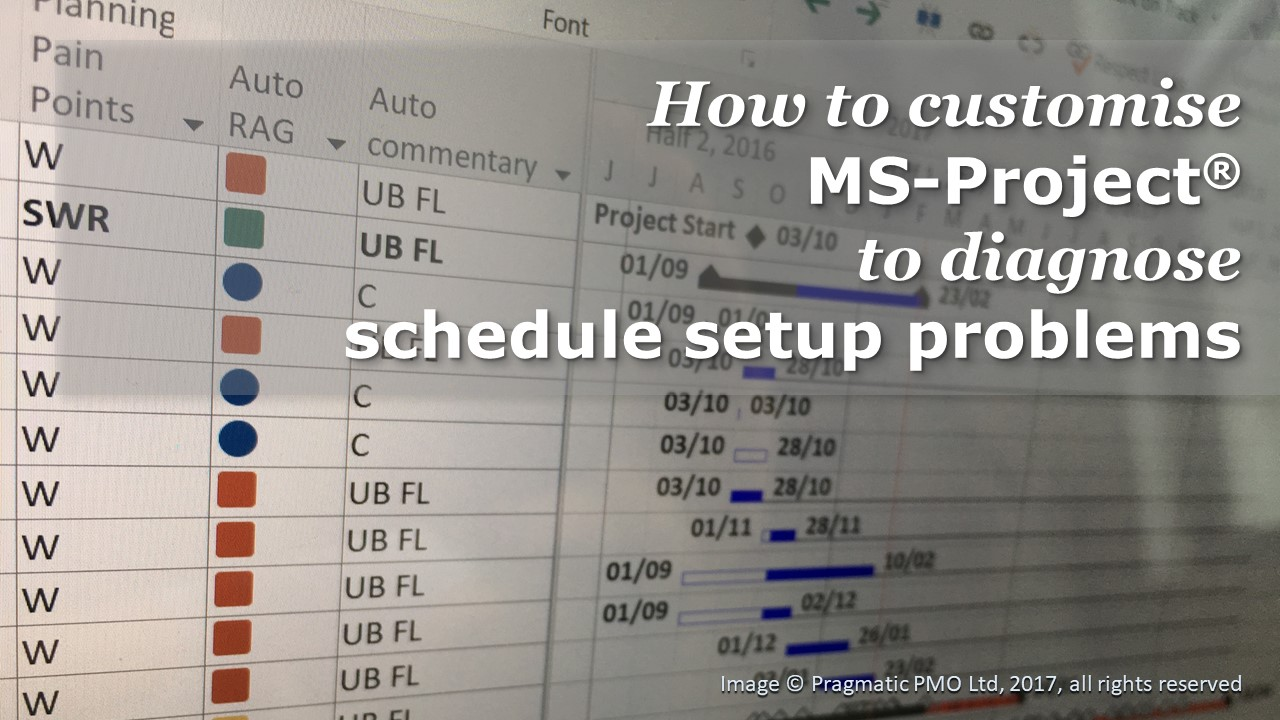 How to customise MS-Project to diagnose schedule setup problems