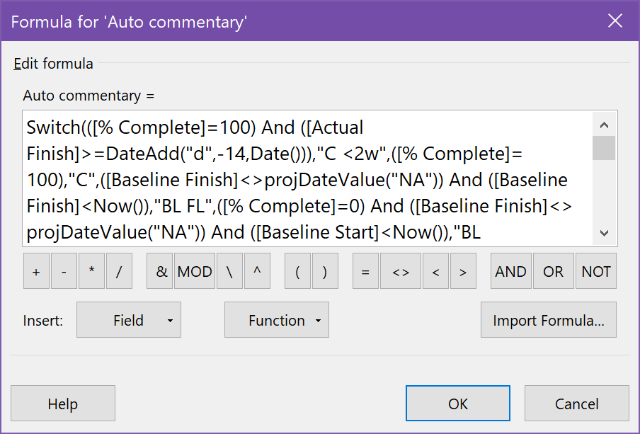Entering the Auto commentary formula in the custom text field formula box