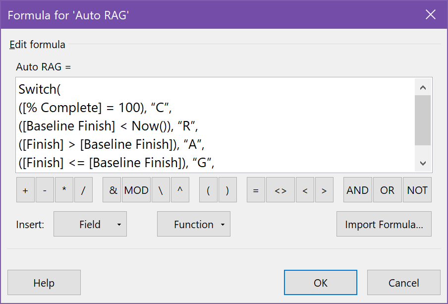 Entering the Auto RAG formula in the custom text field formula box