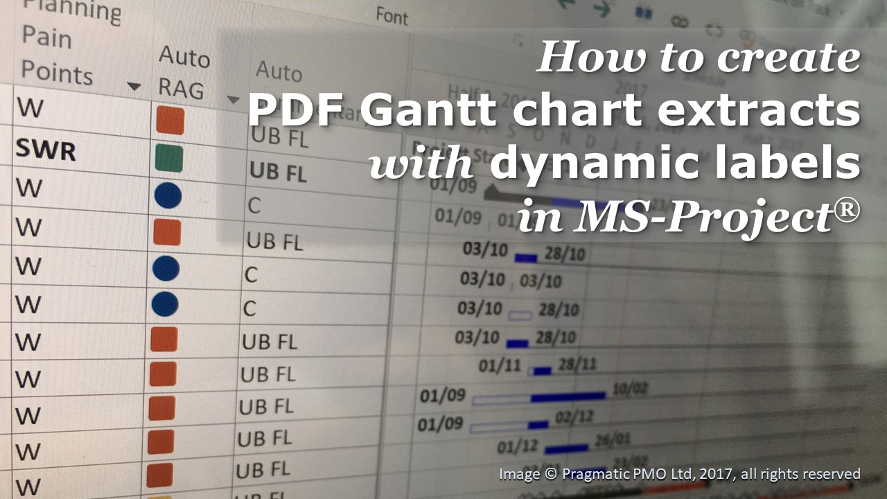 How to create PDF Gantt chart extracts with dynamic labels in MS-Project®